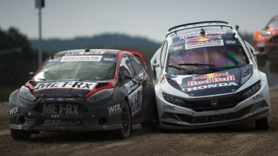 There is plenty of action in Global Rallycross.  (Red Bull Global Rallycross Photo)
