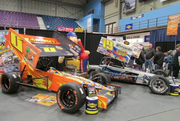 A pair of small block supermodifieds appear earlier this month at the NE Motorsports Expo