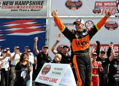 Todd Szegedy celebrates one of his victories at NHMS.  (NASCAR Photo)