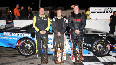 The Easter Bunny 150 top three - Preston Pelltier (C), Ben Rowe (L) and Matt Craig (R). (PASS Photo)