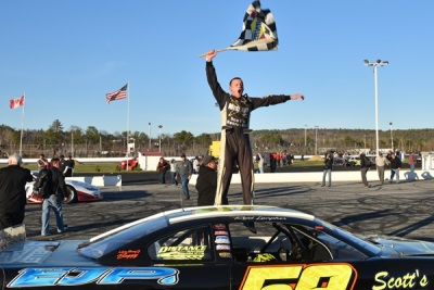 Reid Lanpher in victory lane at Oxford.  (PASS Photo)