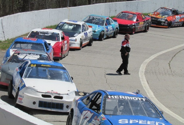 The NEMST cars line up for practice at Lee.  (Mike Twist Photo)