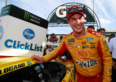 Joey Logano probably wasn't smiling when NASCAR issued their weekly penalty report.  (NASCAR Photo)