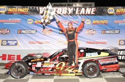 Anthony Nocela in victory lane at Stafford.  (Stafford Motor Speedway Photo)