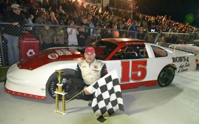 Five-time Wiscasset track champion Scott Chubbuck in victory lane.  (Wiscasset Speedway Photo)