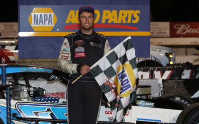 Jon McKennedy in victory lane at Stafford.  (Stafford Motor Speedway Photo)