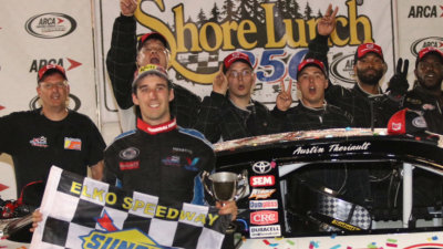Austin Theriault in victory lane at Elko.  (ARCA Racing Series Photo)