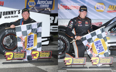 Brett Gonyaw & Ronnie Williams both went to victory lane on Dunleavy's Modifiedz night.  (SMS Photo)