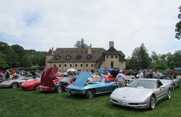 Corvettes covered the lawn at the Larz Anderson Museum this past Sunday.  (Mike Twist Photo)