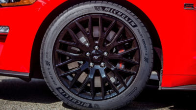 The summer tires on a Ford Mustang GT.  (Ford Photo)