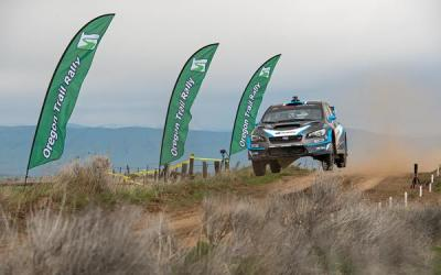 David Higgins and Craig Drew get airborne at the Oregon Trail Rally.  (Subaru Photo)