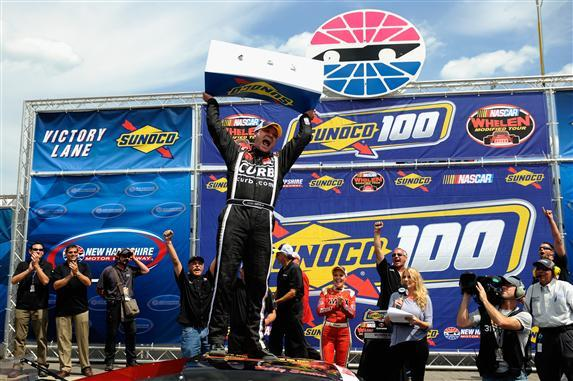 Bobby Santos, III in victory lane at New Hampshire Motor Speedway.  (NASCAR Photo)