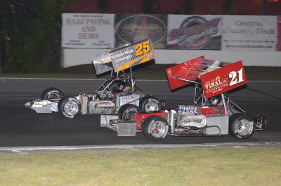Dan Bowes and Jon McKennedy race wheel-to-wheel.  (Jim Fenney/ISMA Photo)