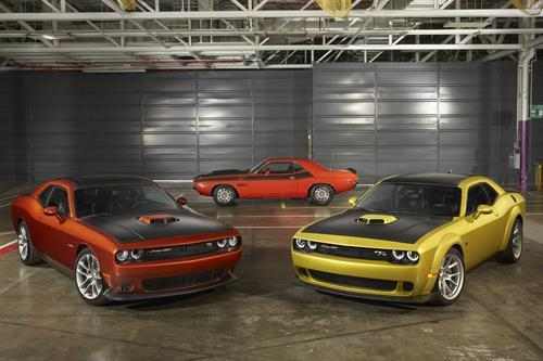 The newest Challengers sit in the shadow of a classic one.  (FCA Photo)